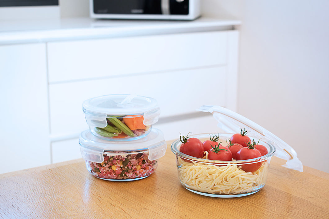 Round glass container set (3pcs)