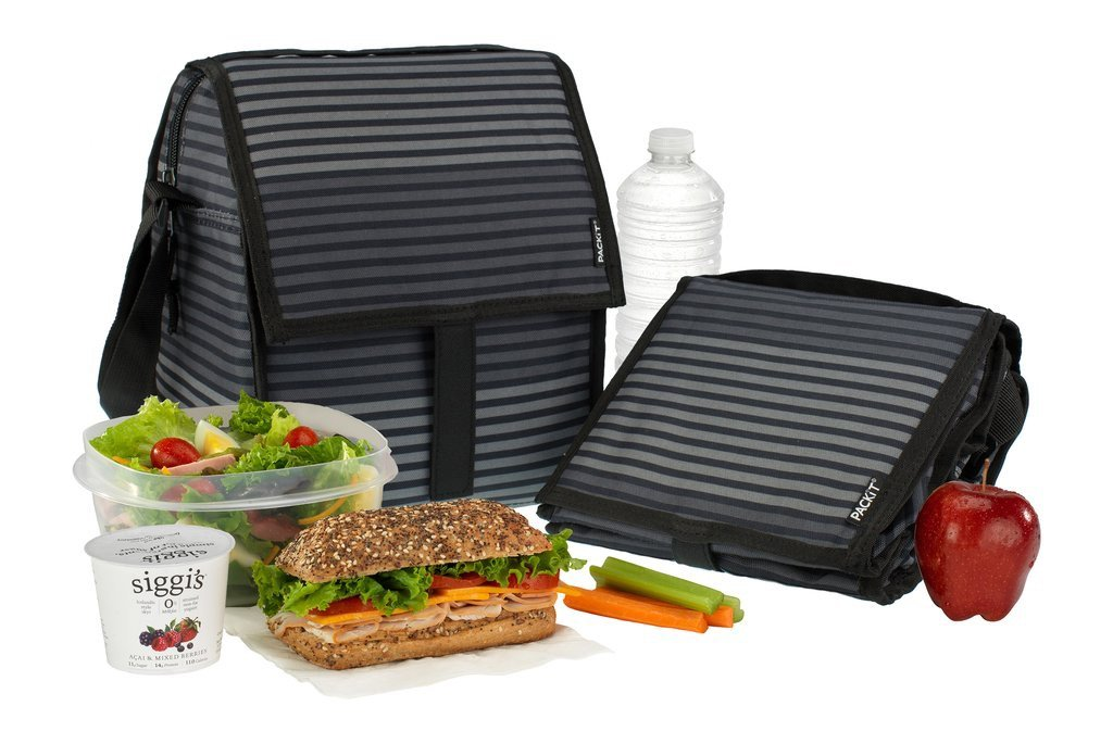 Freezable Deluxe Bag - Black & Grey Stripes