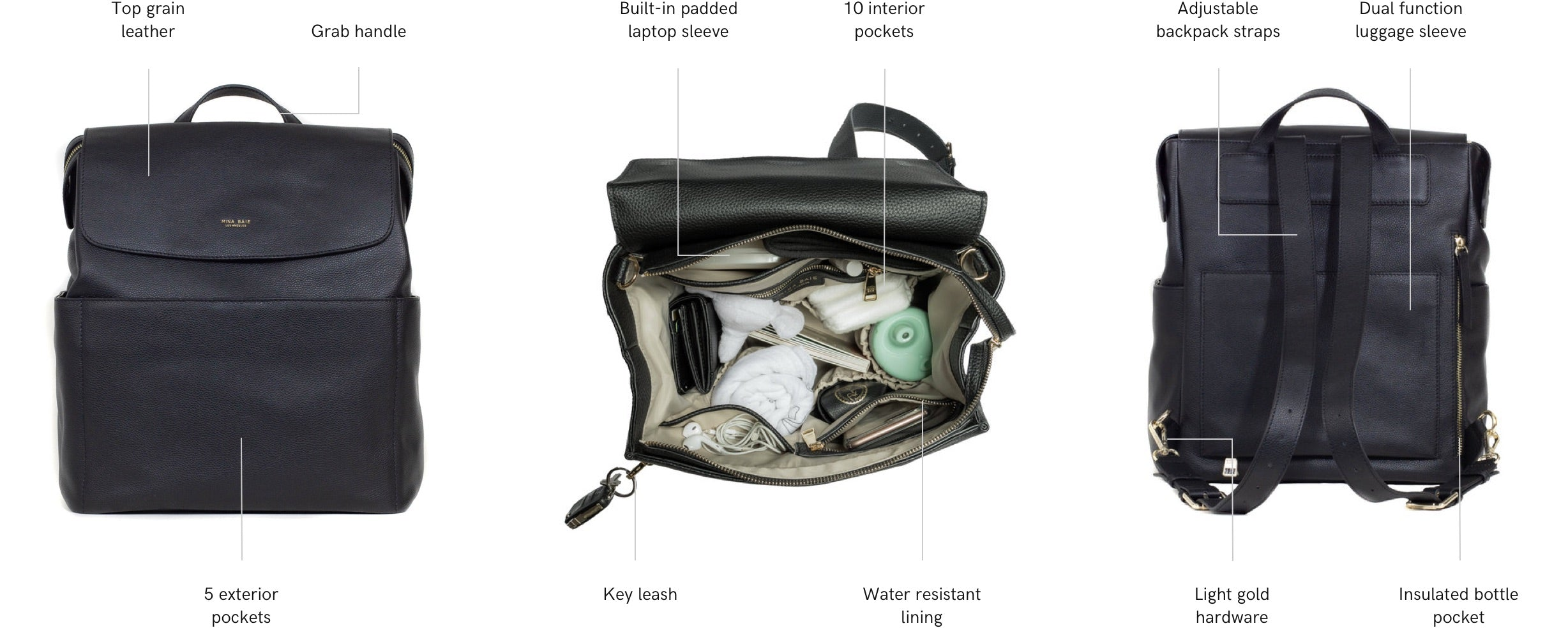 leather kinney backpack features