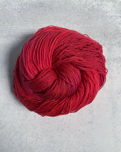 Load image into Gallery viewer, OOAK Cherry Bomb BFL Sock Yarn