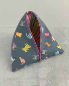 Rainbow Cats Zippered Sock-Sized Project Bag