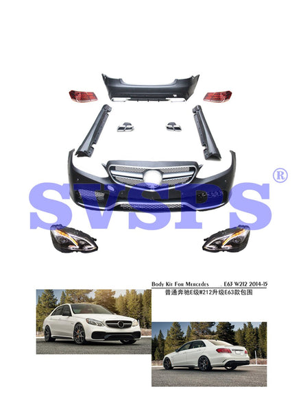 Black Pearl High Quality Body Kit For Mercedes-Benz E Series W212 Upgrade E63 Style Front Rear Bumper Lamps Side Bars 2014-2015