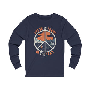 Peace Is Found On The Trail Navy Long Sleeve Tee