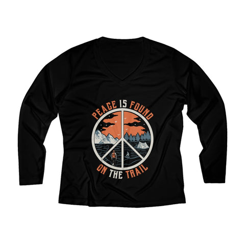 Peace Is Found On The Trail Long Sleeve Performance tee - Black