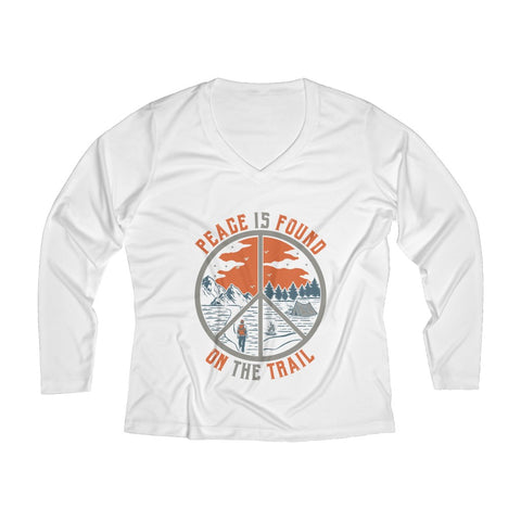 Peace Is Found On The Trail Long Sleeve Performance tee - White