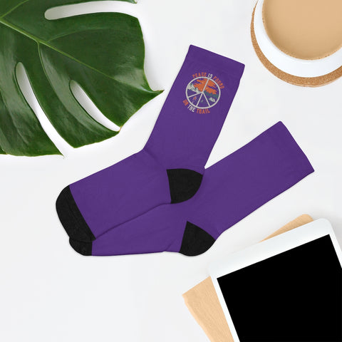 Purple Peace Is Found On The Trail Socks