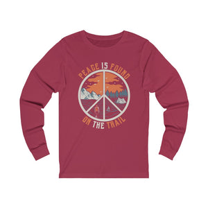 Peace Is Found On The Trail Maroon Long Sleeve Tee
