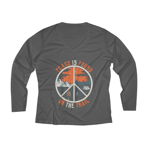 Peace Is Found On The Trail Long Sleeve Performance tee - Gray