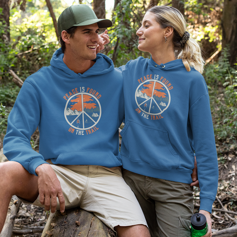 Image of Peace Is Found On The Trail Blue Hoodie