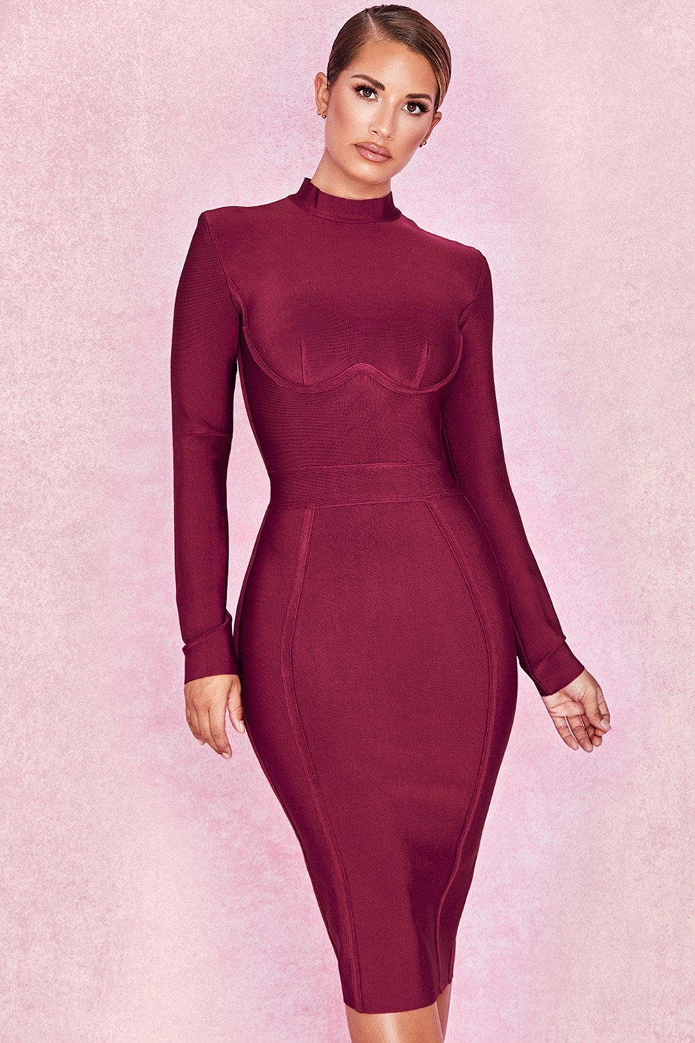 Wine Bandage Long Sleeve Dress - Sale