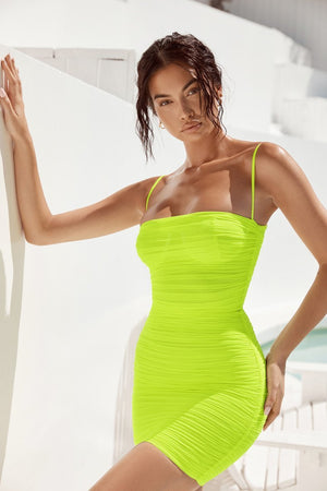 Neon Green Ruched Organza Mesh Mini Dress