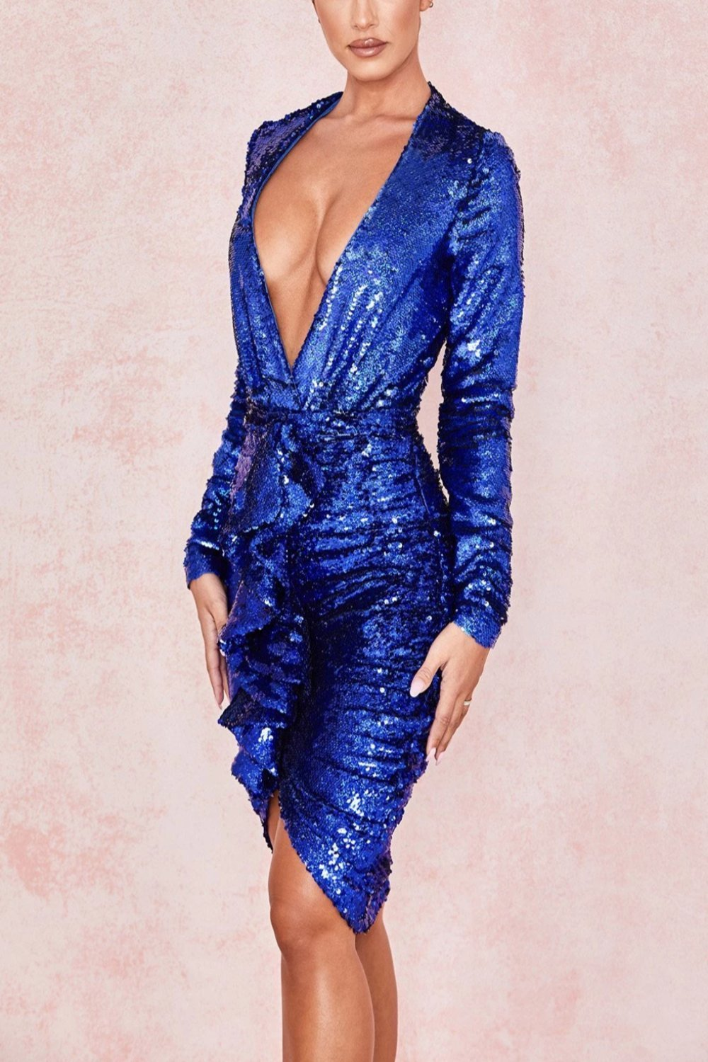 Cobalt Sequinned Draped Skirt