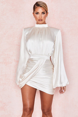 Khristen Ivory Satin Blouson Dress