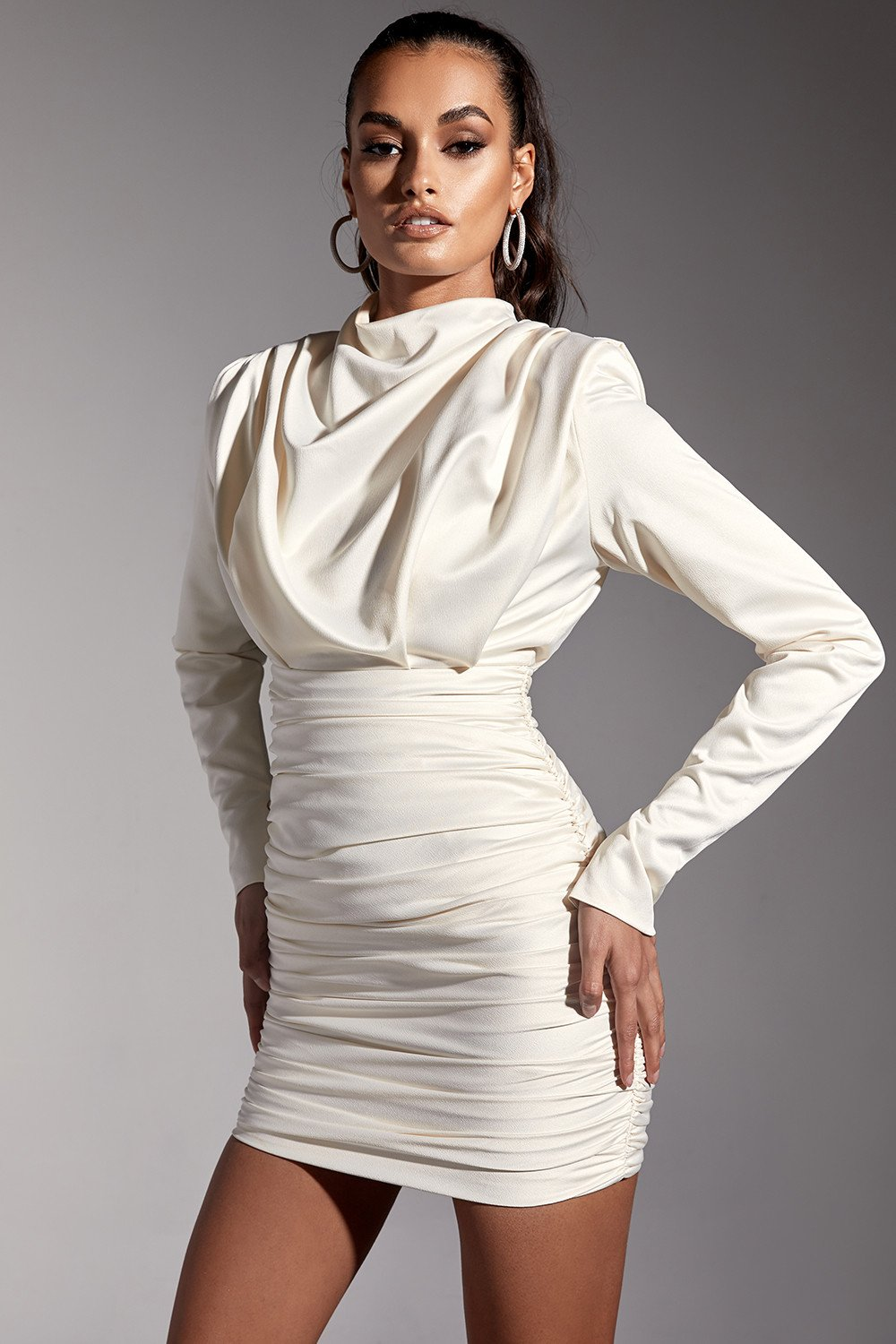 Ivory Satin Draped Mini Dress