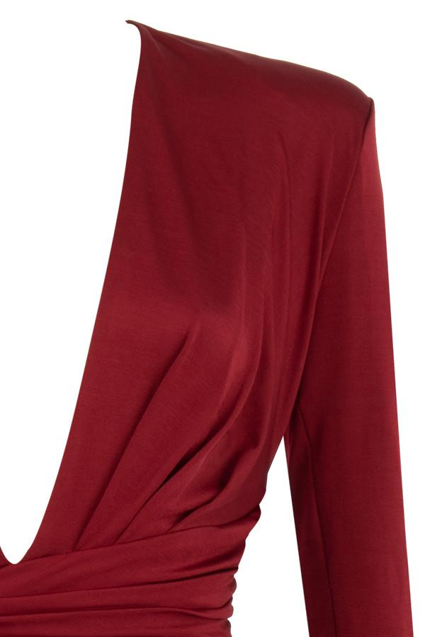 Wine Ruched Wrap Dress