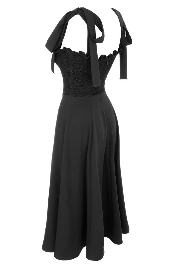 Carmella Black Shirred Midi Sundress