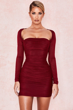 Wine Ruched Mesh Mini Dress