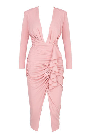 Mira Blush Deep Plunge Midi Dress