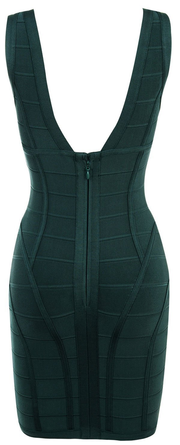 Evergreen V Neck Bandage Dress