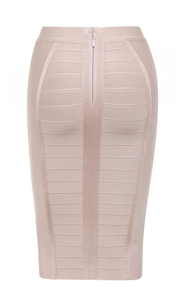 Nude Knee Length Bandage Pencil Skirt