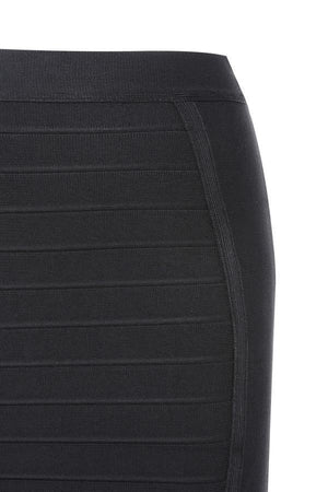 Black Knee Length Bandage Pencil Skirt