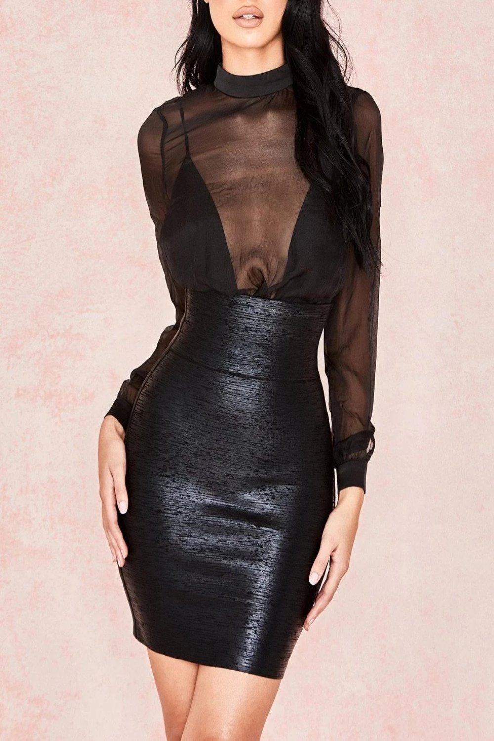 Black Foil Bandage Mini Skirt