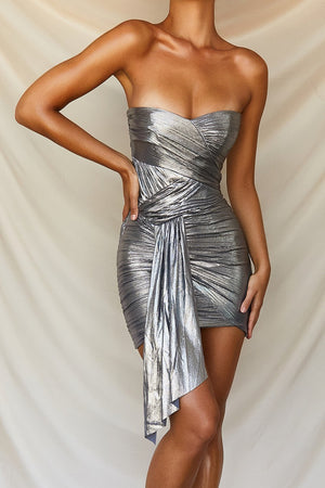 Metallic Silver Strapless Dress