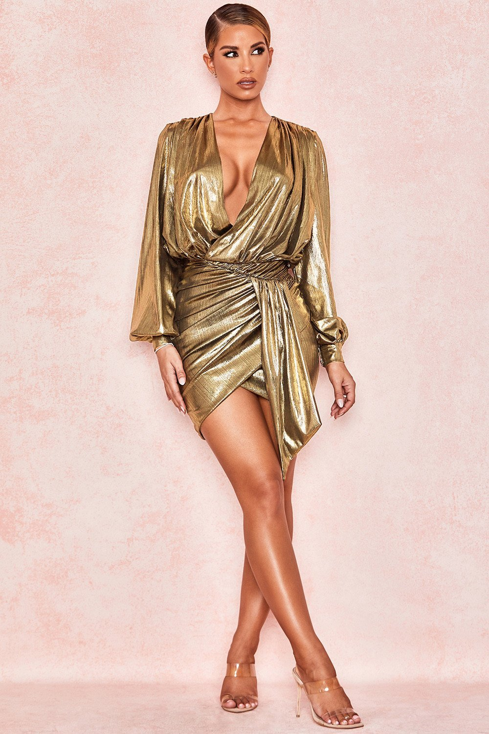 Metallic Bronze Drape Mini Dress
