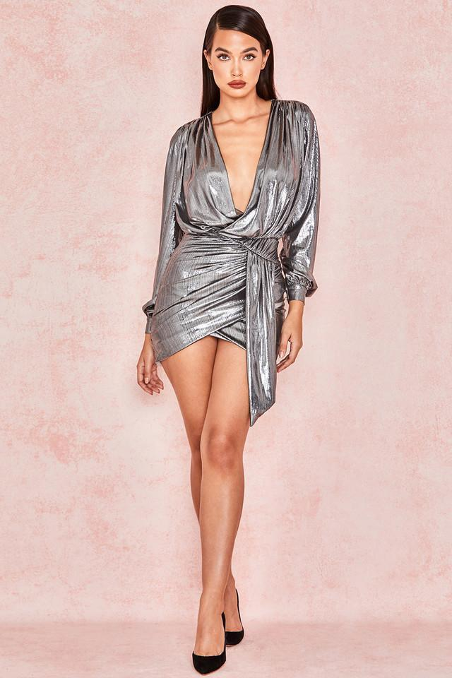 Metallic Silver Drape Mini Dress