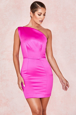 Pink Duchess Satin One Shouldered Mini Dress
