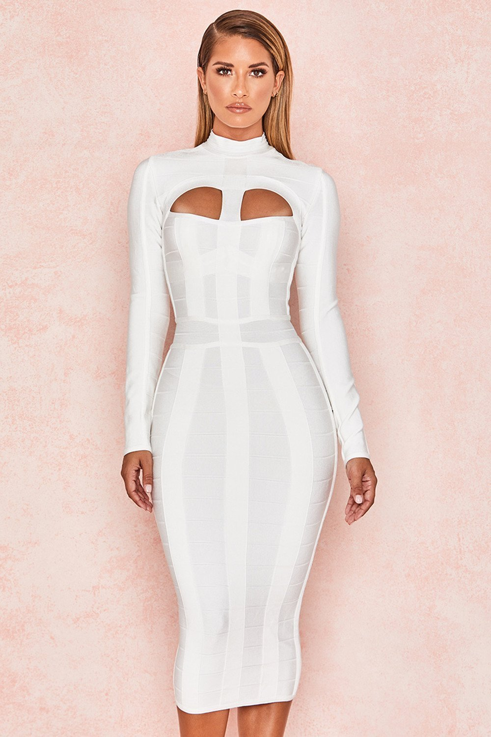White Cut Out Long Sleeve Bandage Dress - Sale