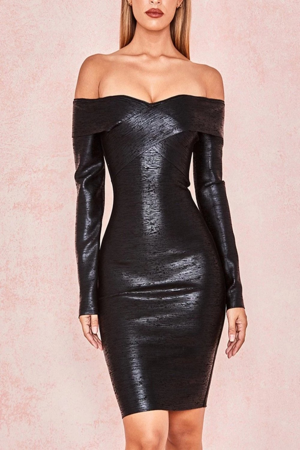 Black Bandage Off Shoulder Dress - Sale