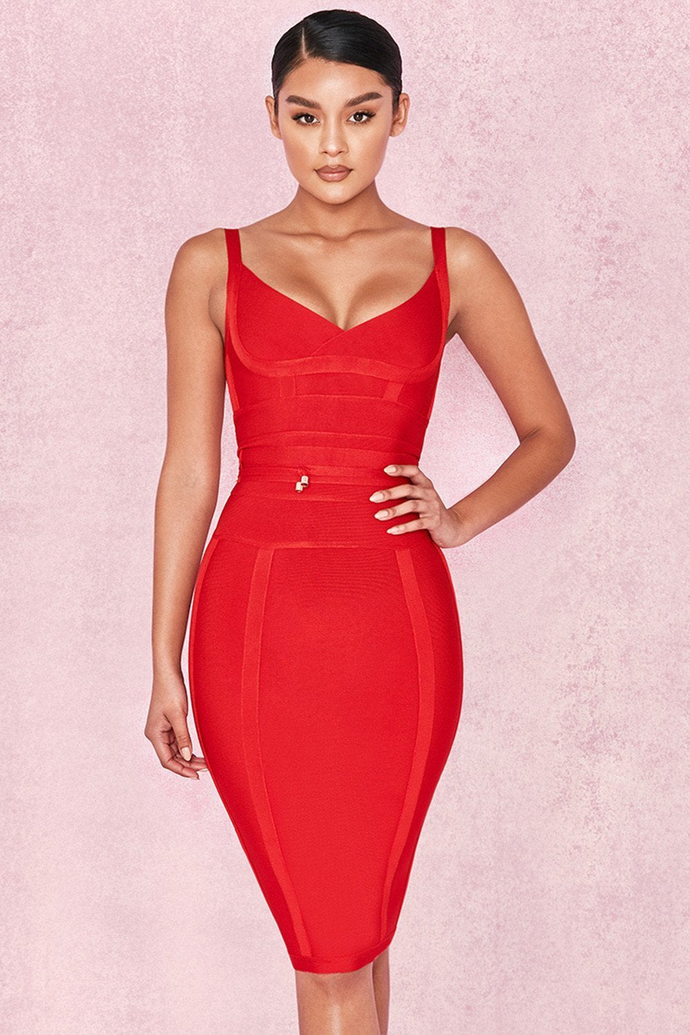 Red Tie Waist Bandage Dress