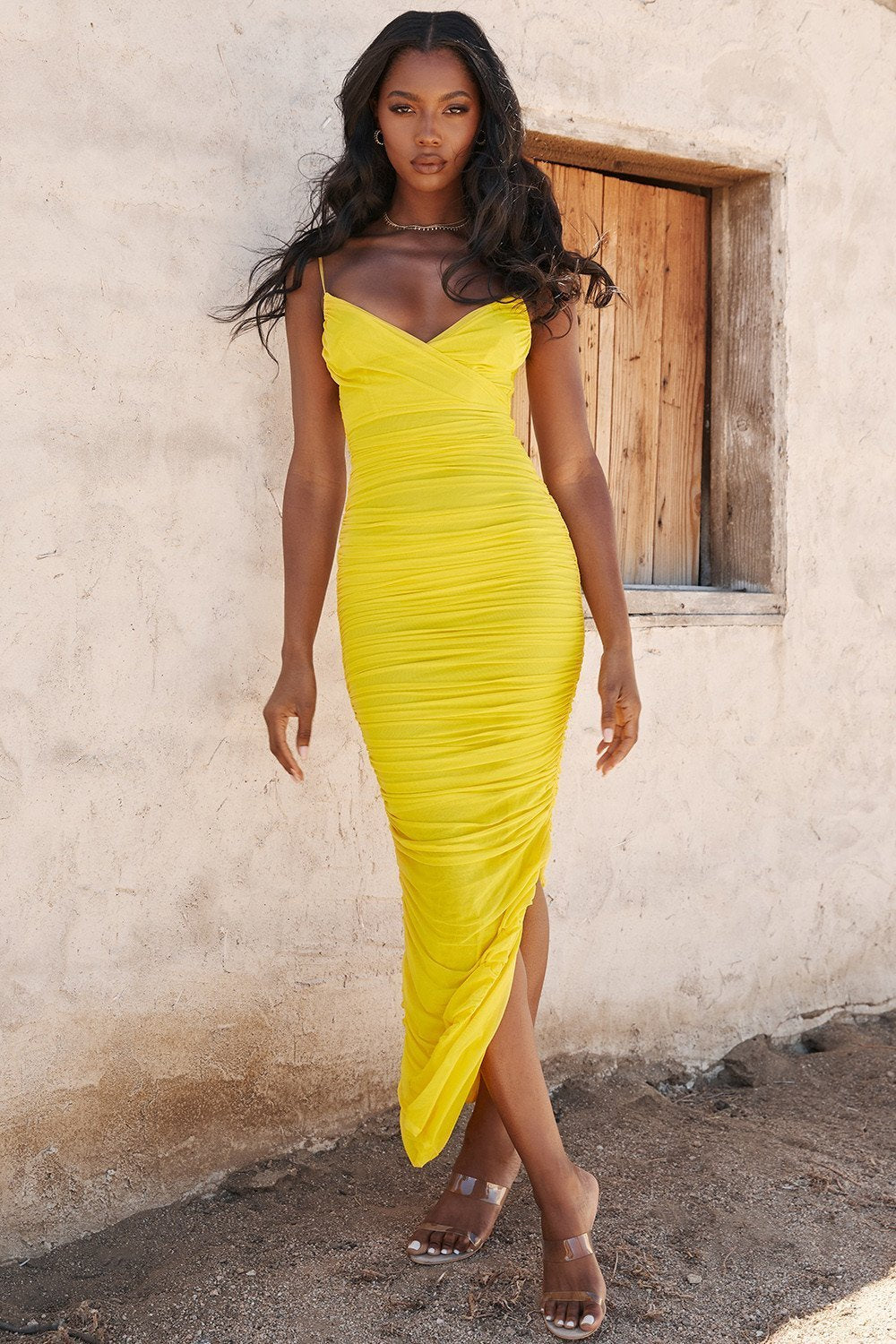 Yellow Ruched Mesh Maxi Dress