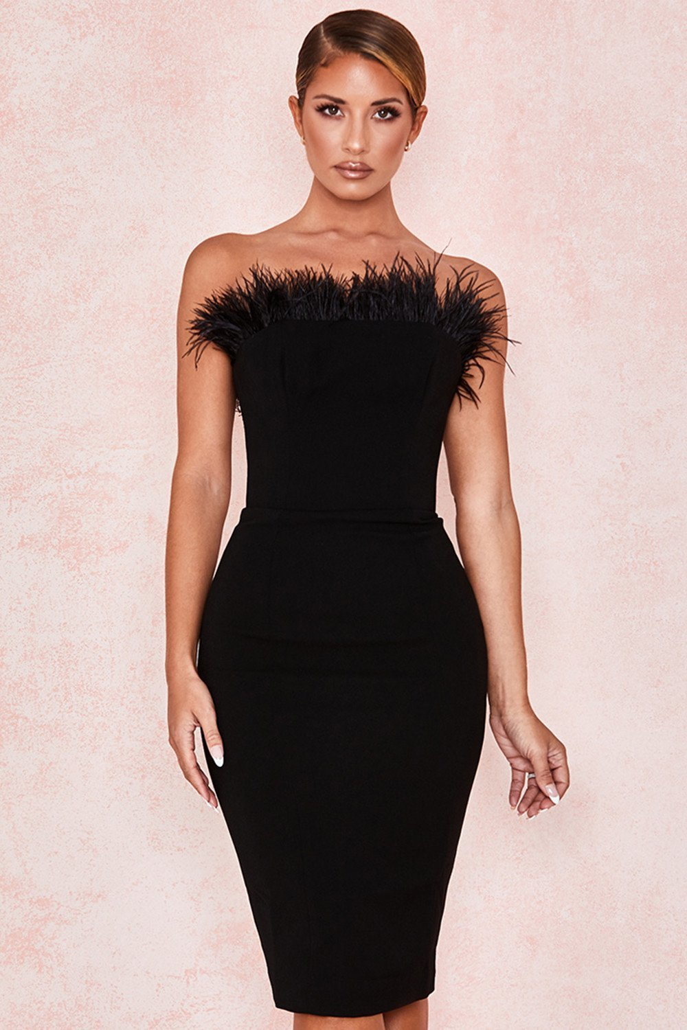 Black Feather Strapless Dress