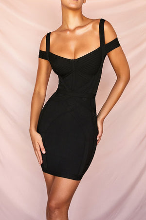 Black Bardot Bandage Mini Dress