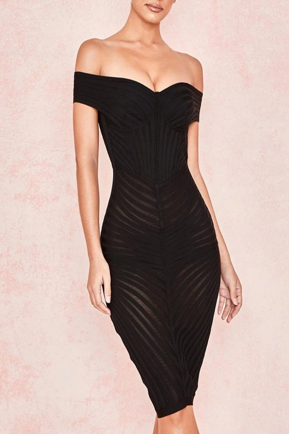 Black Off Shoulder Mesh + Bandage Dress