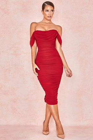 Wine Ruched Draped Chiffon Dress