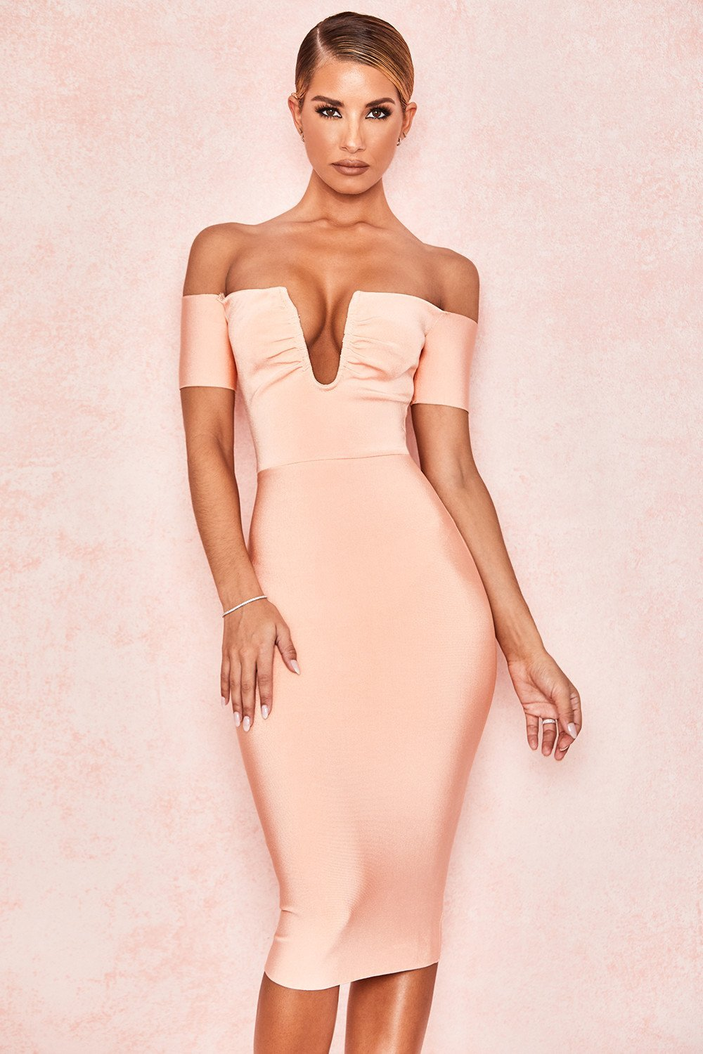 Peach V Wire Bandage Dress - Sale