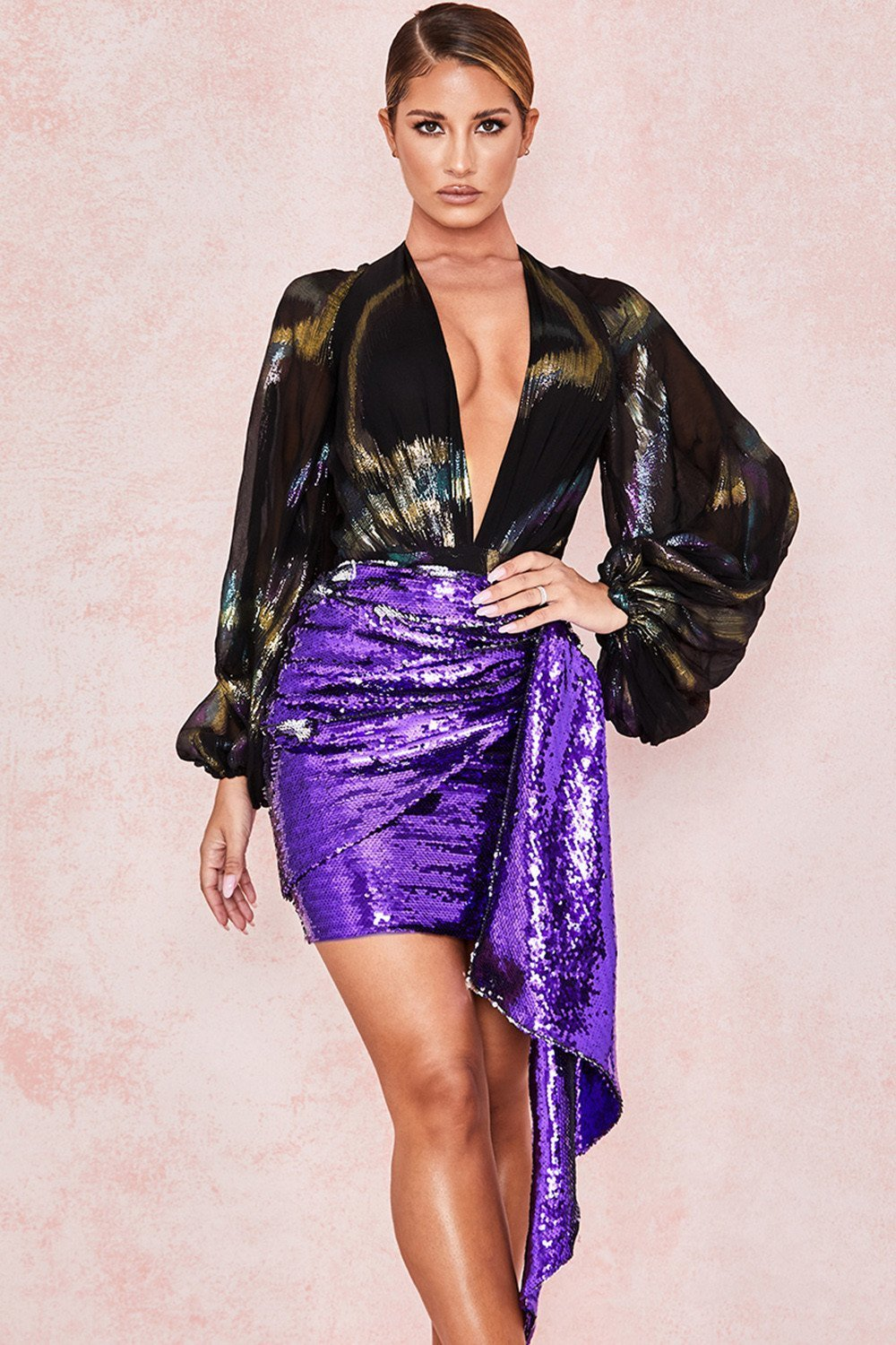 Violet Sequin Draped Mini Skirt