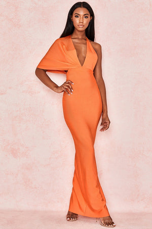 Orange Bandage Drape Maxi Dress