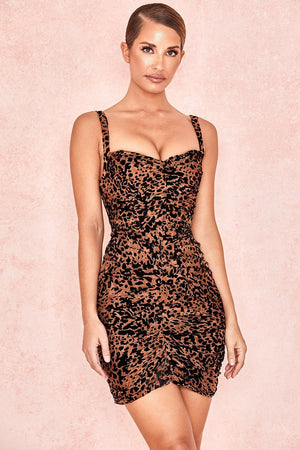 Leopard Print Corset Mesh Dress
