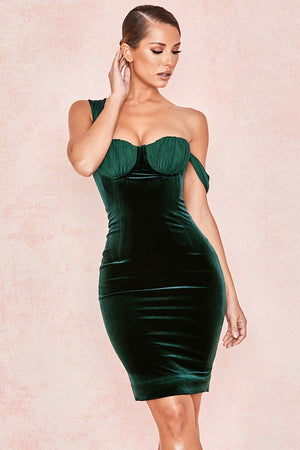Evergreen Velvet Balcony Cup Dress