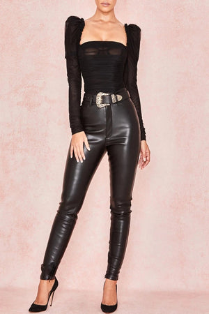Black Ruched Chiffon Puff Sleeve Bodysuit