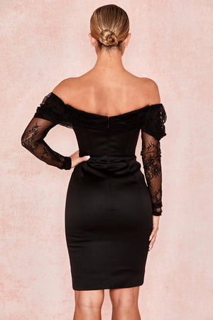 Black Off Shoulder Corset Dress