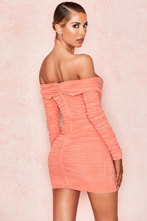 Peach Wrap Off Shoulder Dress