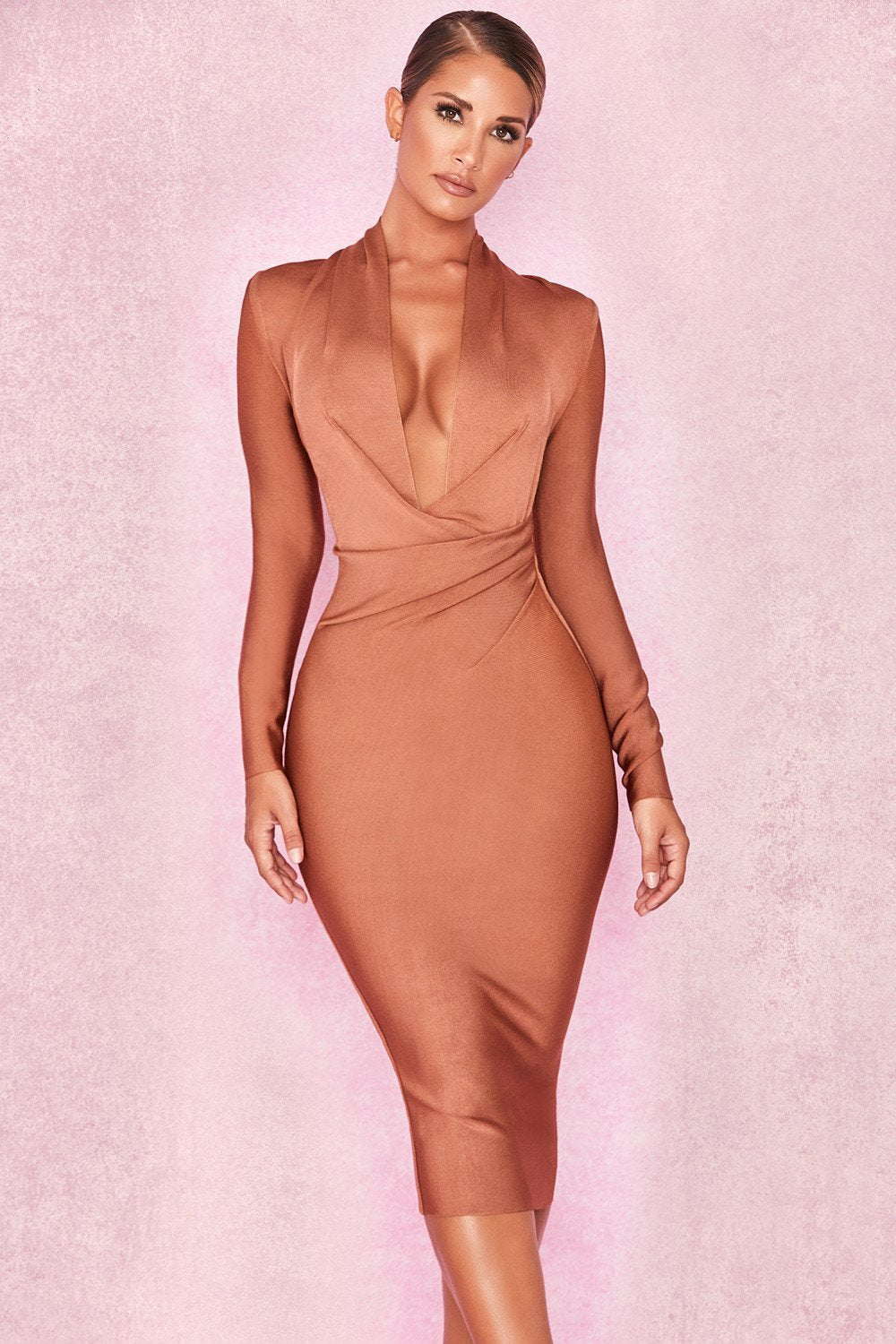 Tan Draped Bandage Dress