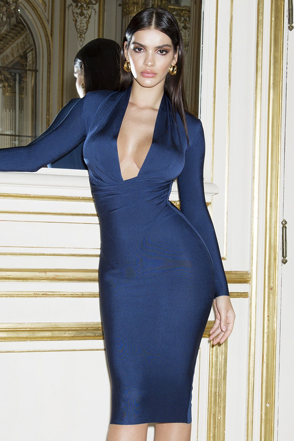 Navy Draped Bandage Dress