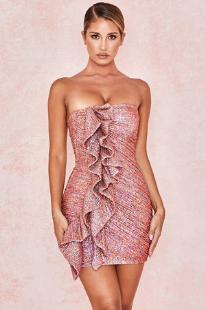 Rose Gold Sequinned Strapless Dress
