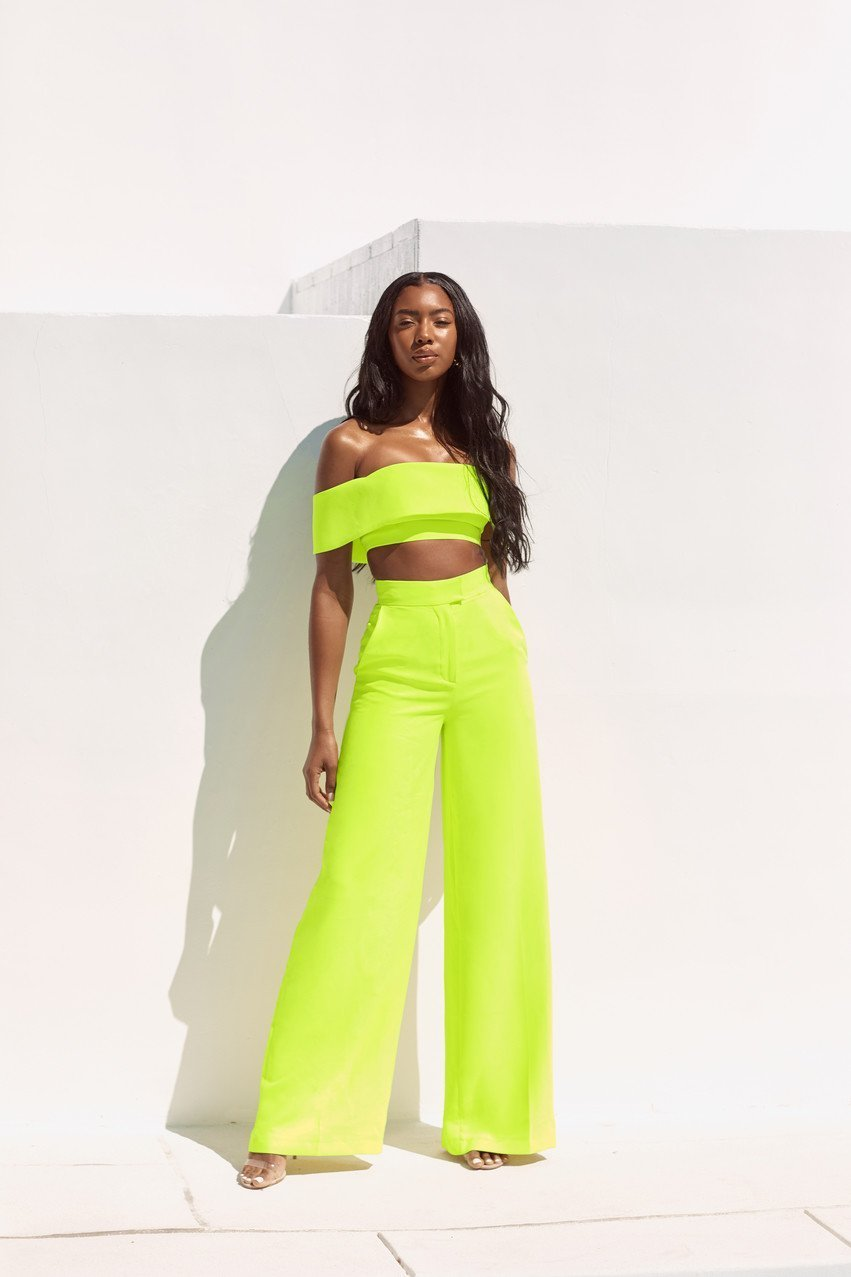 Neon Green Wide Leg Trousers